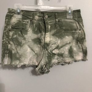 Aeropostale green and white jean shorts